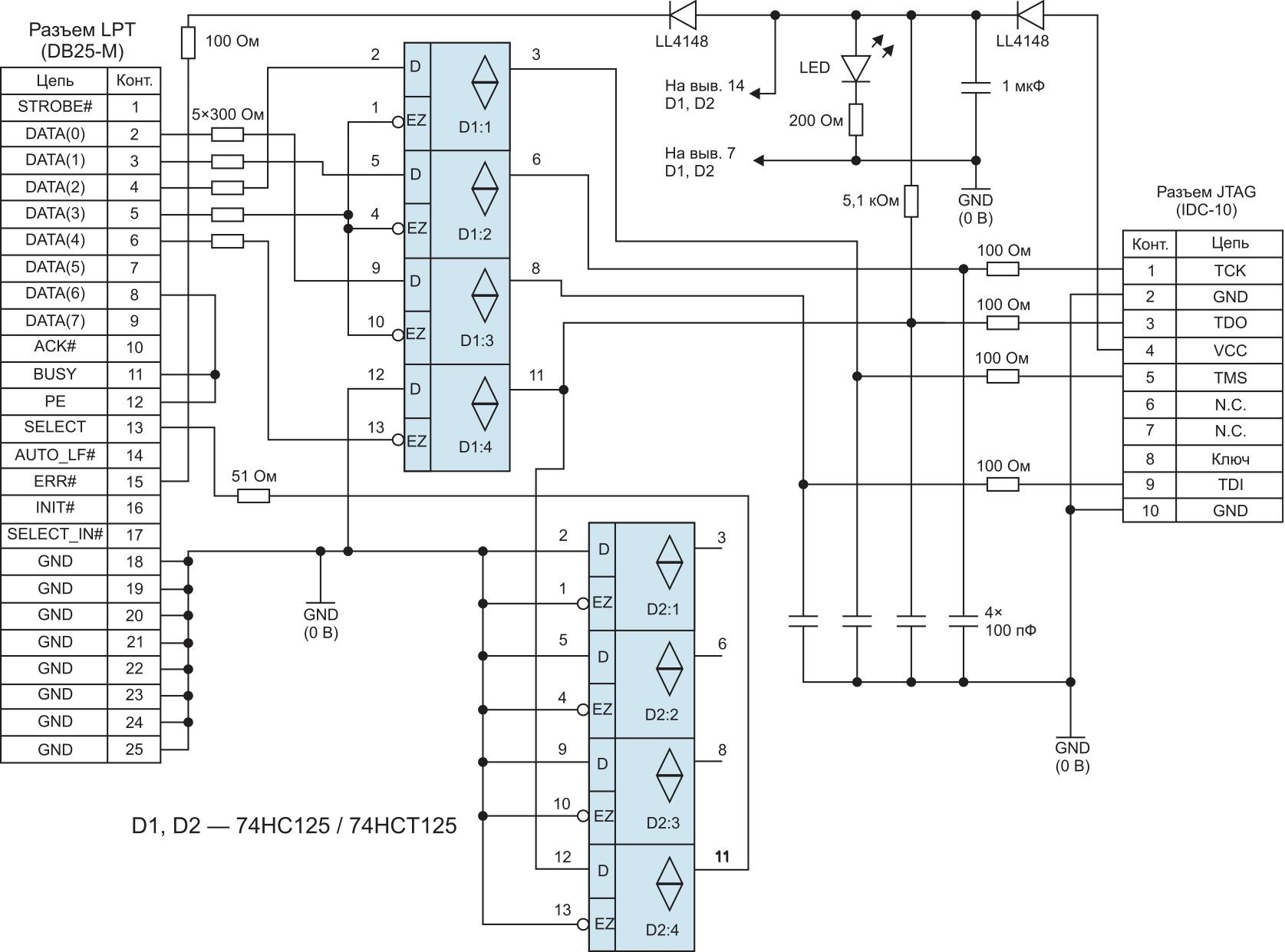 Принципиальная схема загрузочного кабеля для ПЛИС фирмы Xilinx