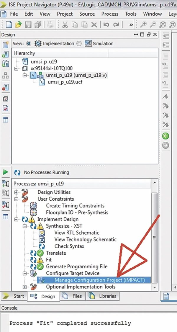 Запуск iMPACT из Xilinx ISE DS Project Navigator