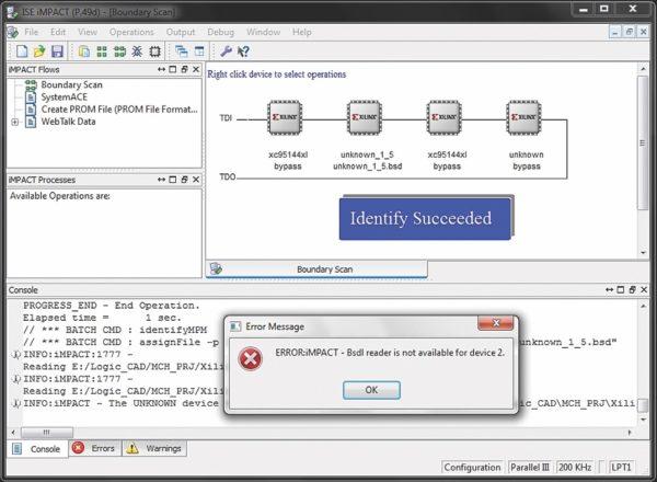 Результат сканирования смешанной JTAG-цепочки в iMPACT