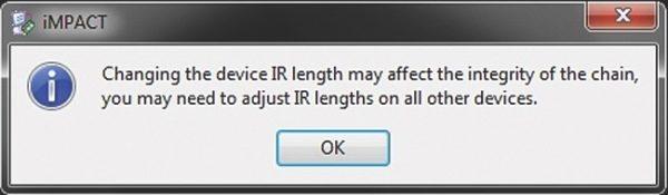Предупреждение о смене параметра — длины регистра команд