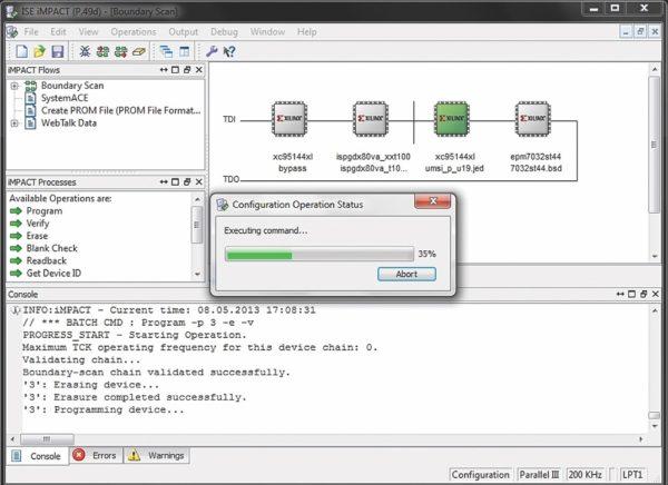 Процесс программирования кристалла ПЛИС в iMPACT