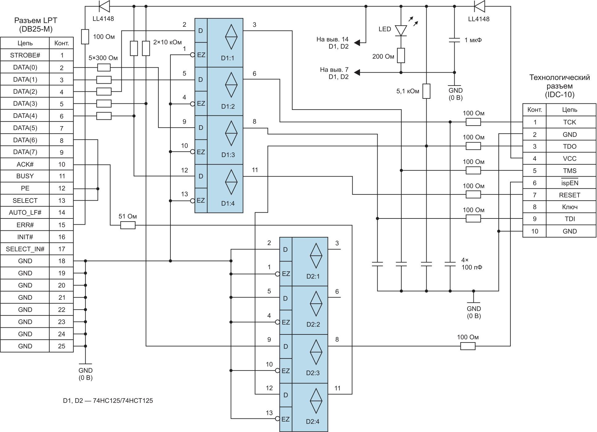 Принципиальная схема загрузочного кабеля для ПЛИС корпорации Lattice Semiconductor