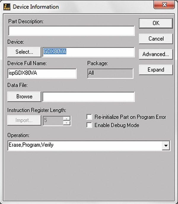 Окно Device Information в ispVM System