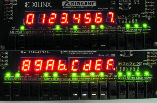 Отображение шестнадцатеричных цифр на семисегментном дисплее