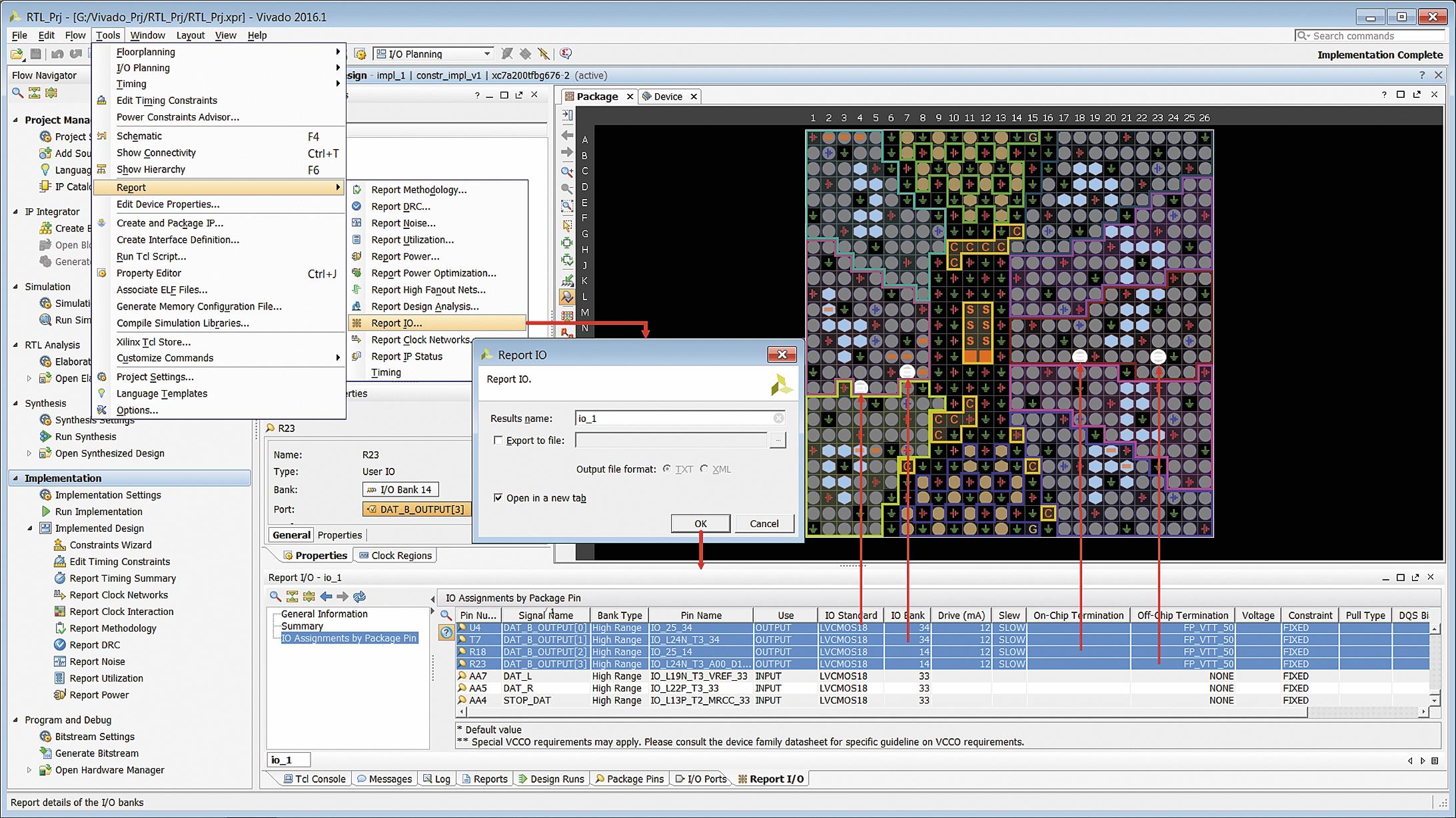 Формирование интерактивного отчета о конфигурировании выводов ПЛИС или программируемой системы на кристалле