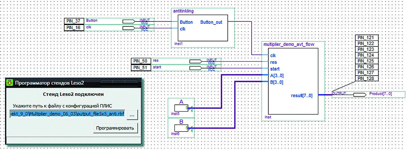 Схема умножителя с подключенными внешними выводами