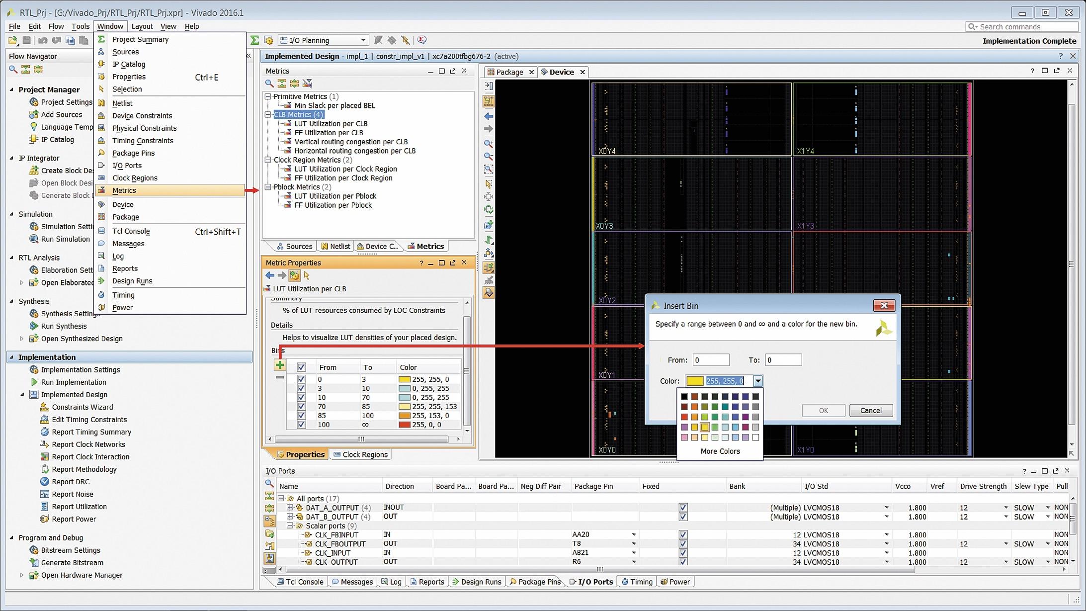 Открытие окна анализа показателей, характеризующих плотность распределения используемых логических ресурсов кристалла