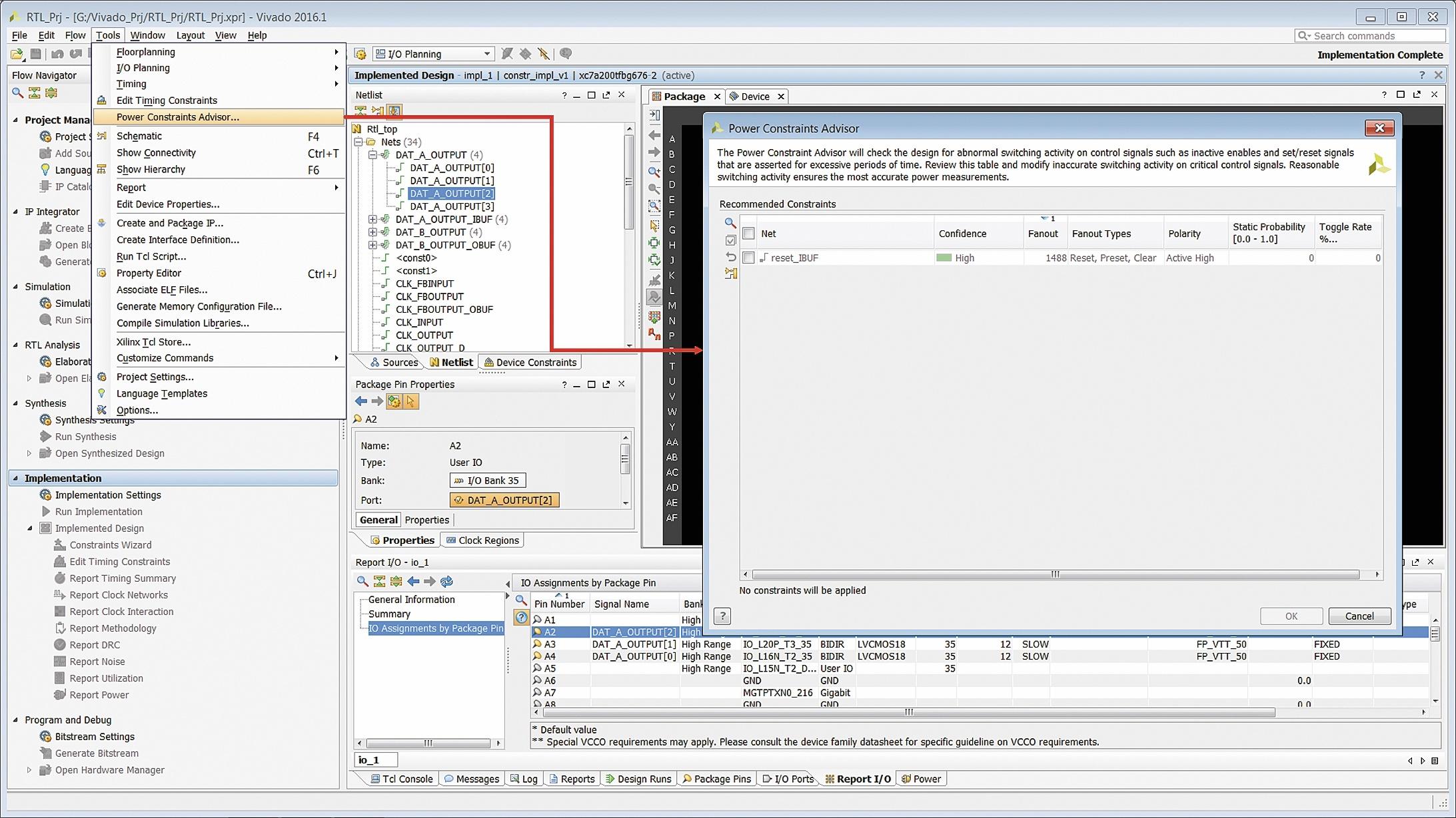 Активизация средств анализа переключений управляющих сигналов проектируемого устройства Power Constraint Advisor