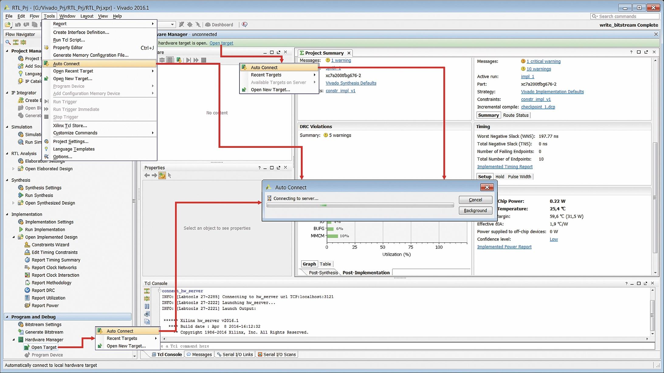 Запуск процедуры автоматического обнаружения подключенного оборудования, доступного для загрузки конфигурационной последовательности