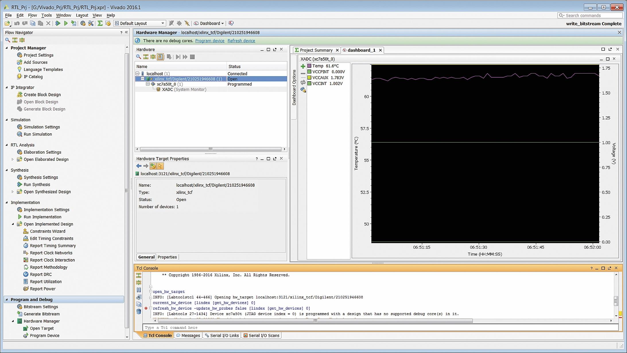 Вид основного окна интегрированной среды разработки Vivado IDE после успешного завершения процедуры автоматического обнаружения подключенного оборудования
