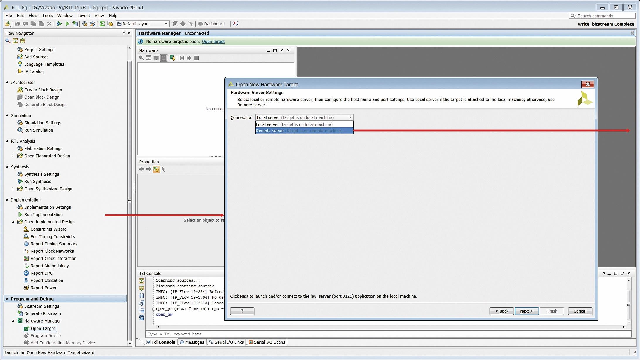 Выбор типа сервера для подключения оборудования, применяемого для загрузки конфигурационной последовательности