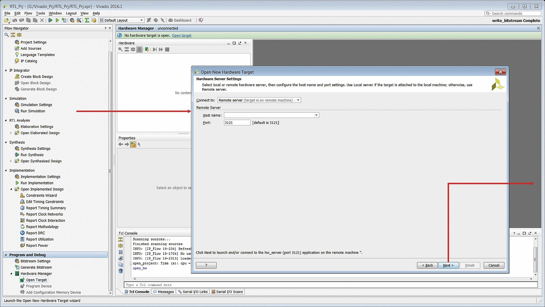 Определение основных параметров удаленного сервера для подключения инструментальных средств загрузки конфигурационной последовательности
