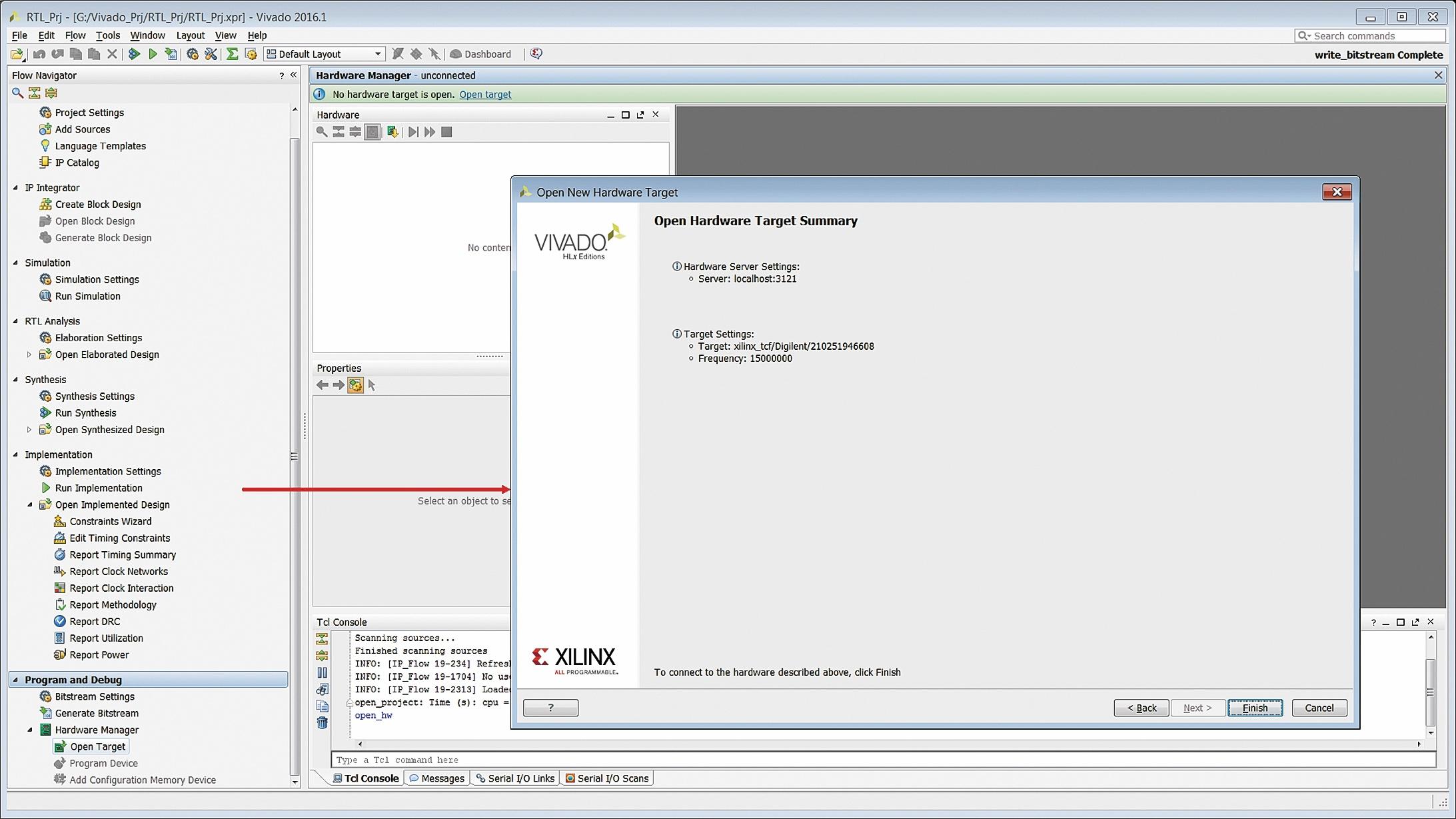 Отображение информации об инструментальных средствах, выбранных для аппаратной верификации разрабатываемого проекта