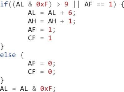 Инструкция AAA процессора Intel x86