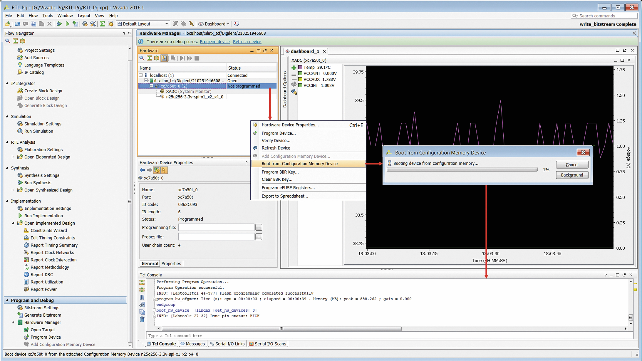 Загрузка конфигурационных данных в кристалл программируемой логики или расширяемой процессорной платформы из запрограммированной микросхемы Flash-памяти