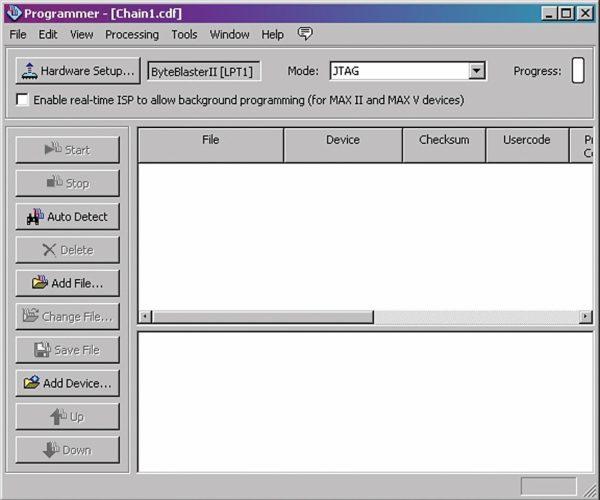Окно программного компонента Programmer