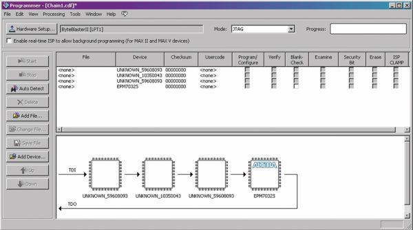 Результат сканирования JTAG-цепочки в Quartus II Programmer