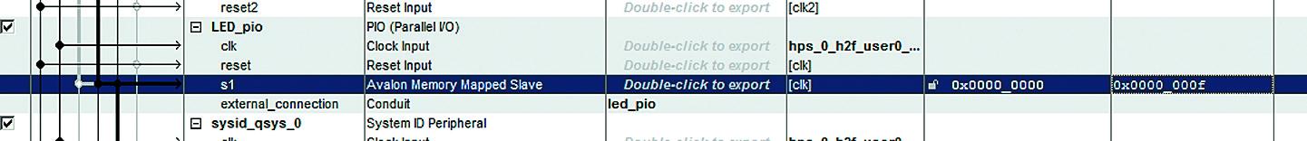 Смещение компонента LED PIO в Qsys