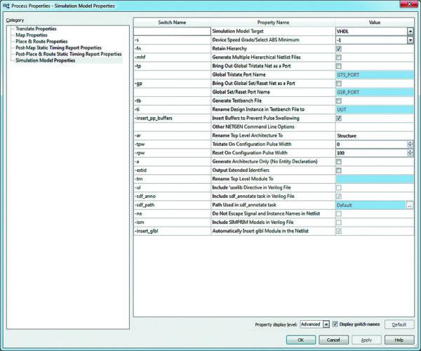 Вид страницы Simulation Model Properties