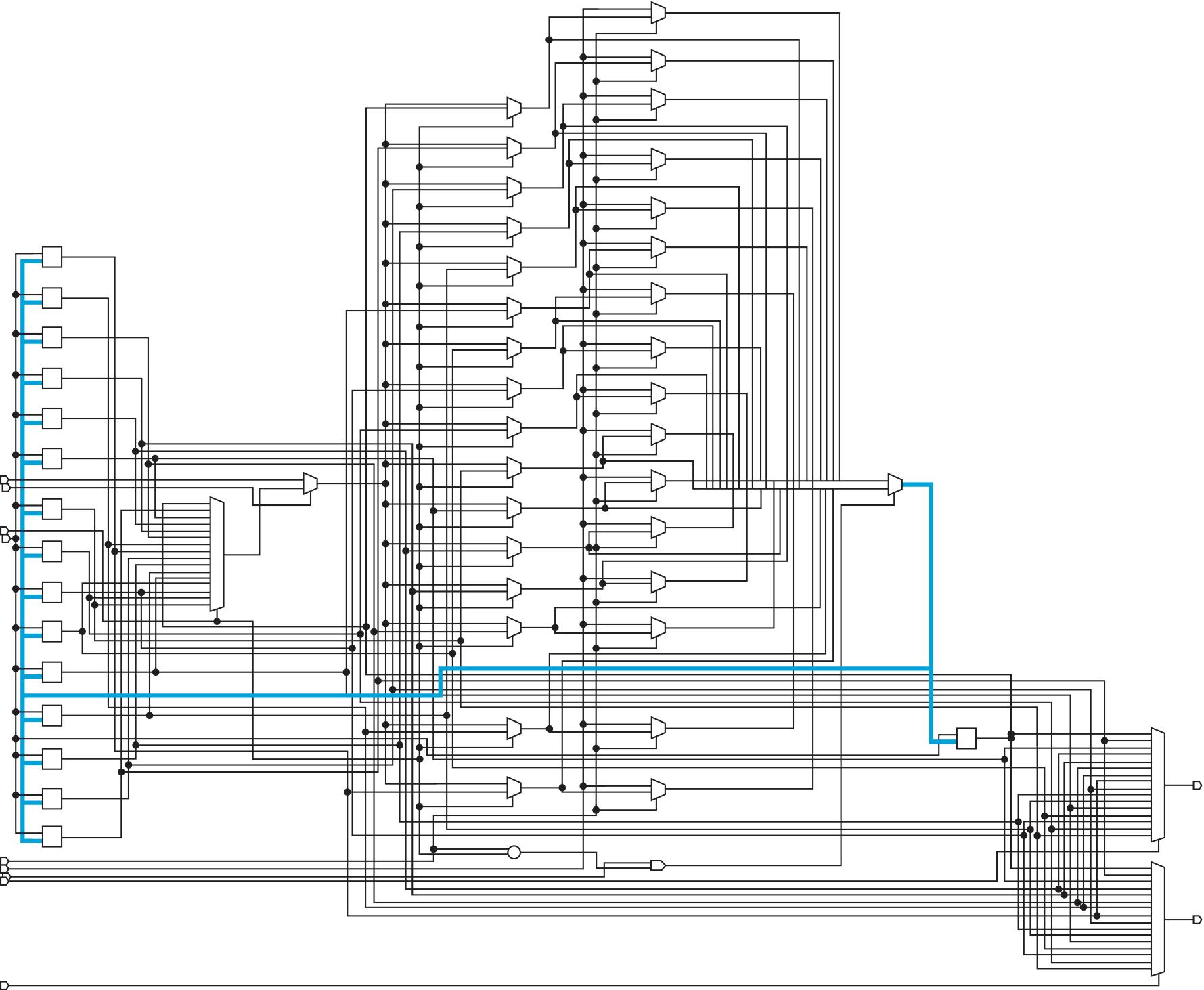 Синтезированная схема регистрового файла с двумя портами записи