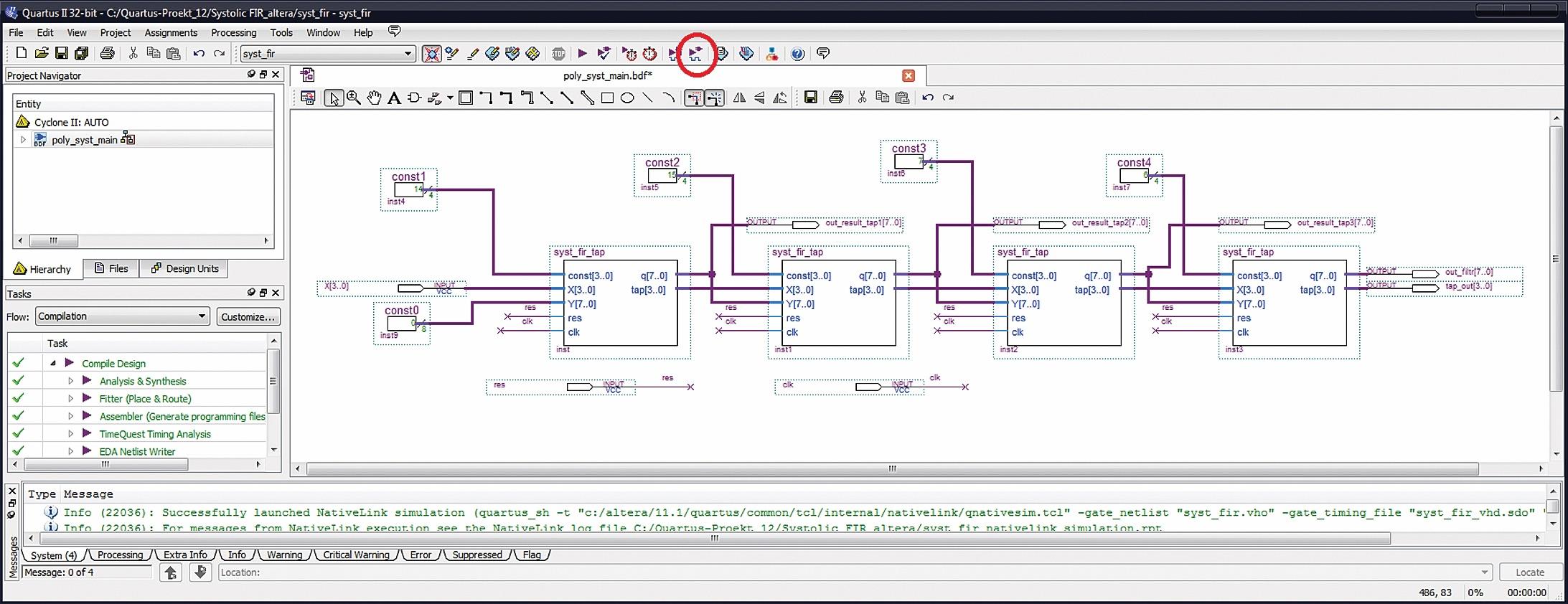 Систолический КИХ-фильтр на четыре отвода в САПР ПЛИС Quartus II версии 11.1 с однотипными процессорными элементами