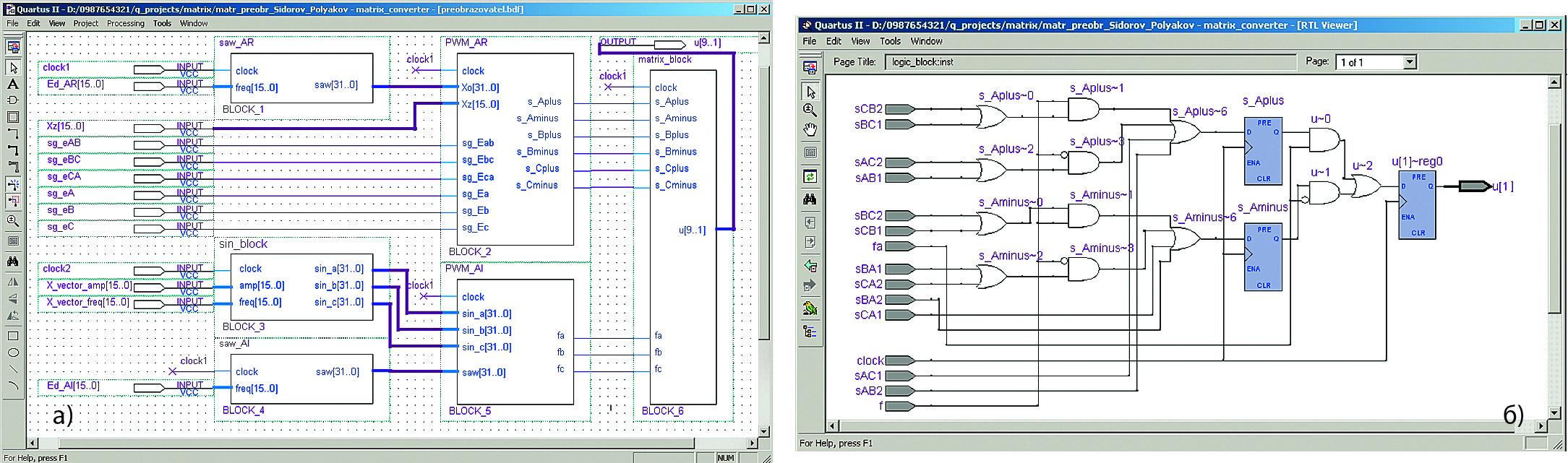 Схемный файл проекта в программной среде Quartus II