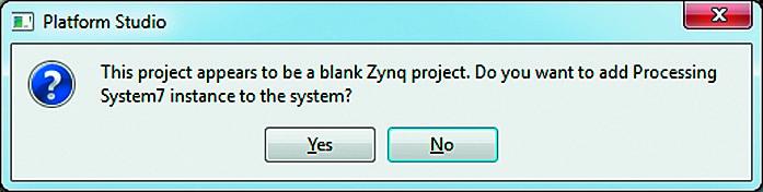 Вид диалоговой панели запроса разрешения на включение ядра процессорной системы в состав вновь созданного проекта XPS