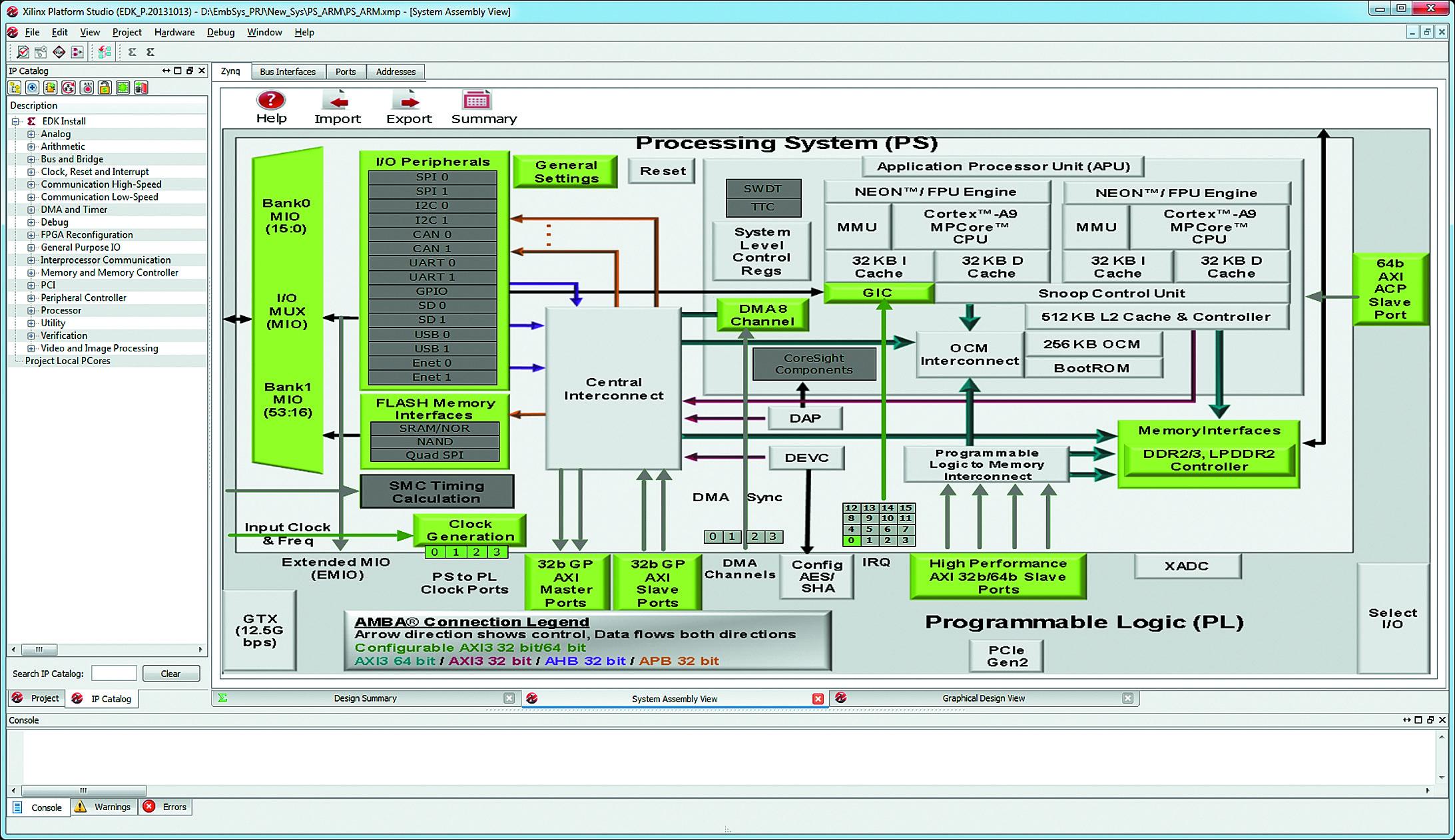 Вид основного окна среды XPS после включения ядра процессорной системы в состав созданного проекта
