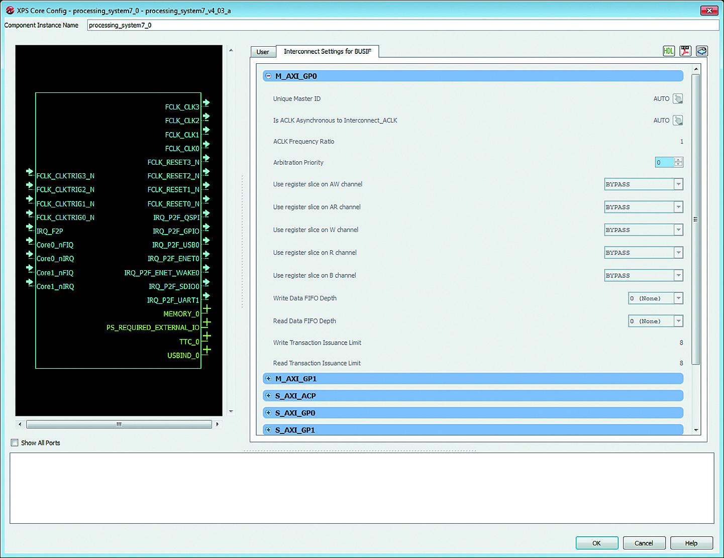 Установка параметров настройки портов интерфейса AXI