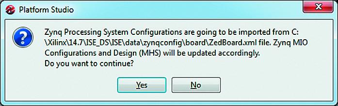 Запрос на импортирование выбранного варианта конфигурации процессорного блока PS