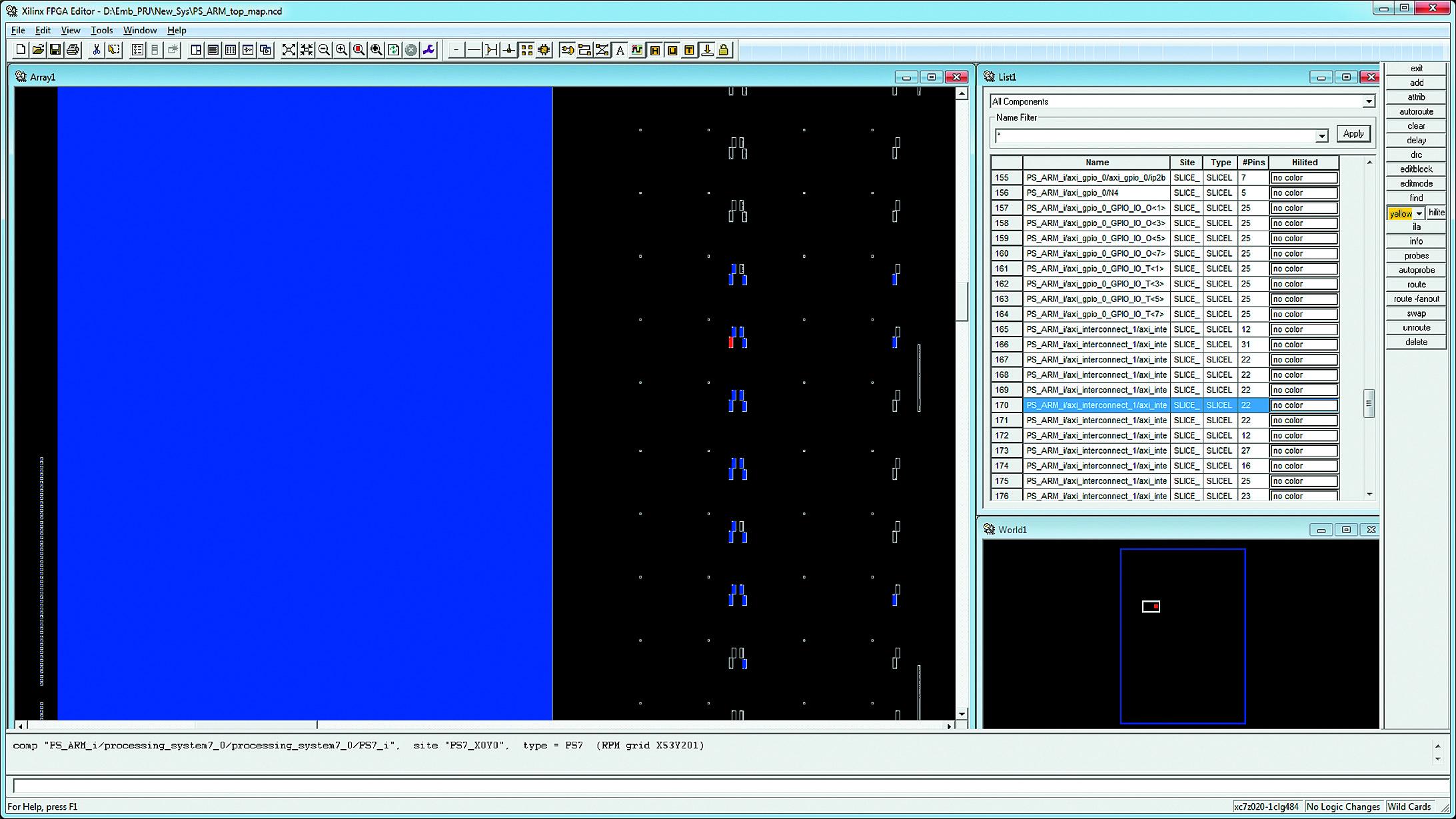 Поиск элементов описания аппаратной части проектируемой системы в видимой области окна Array