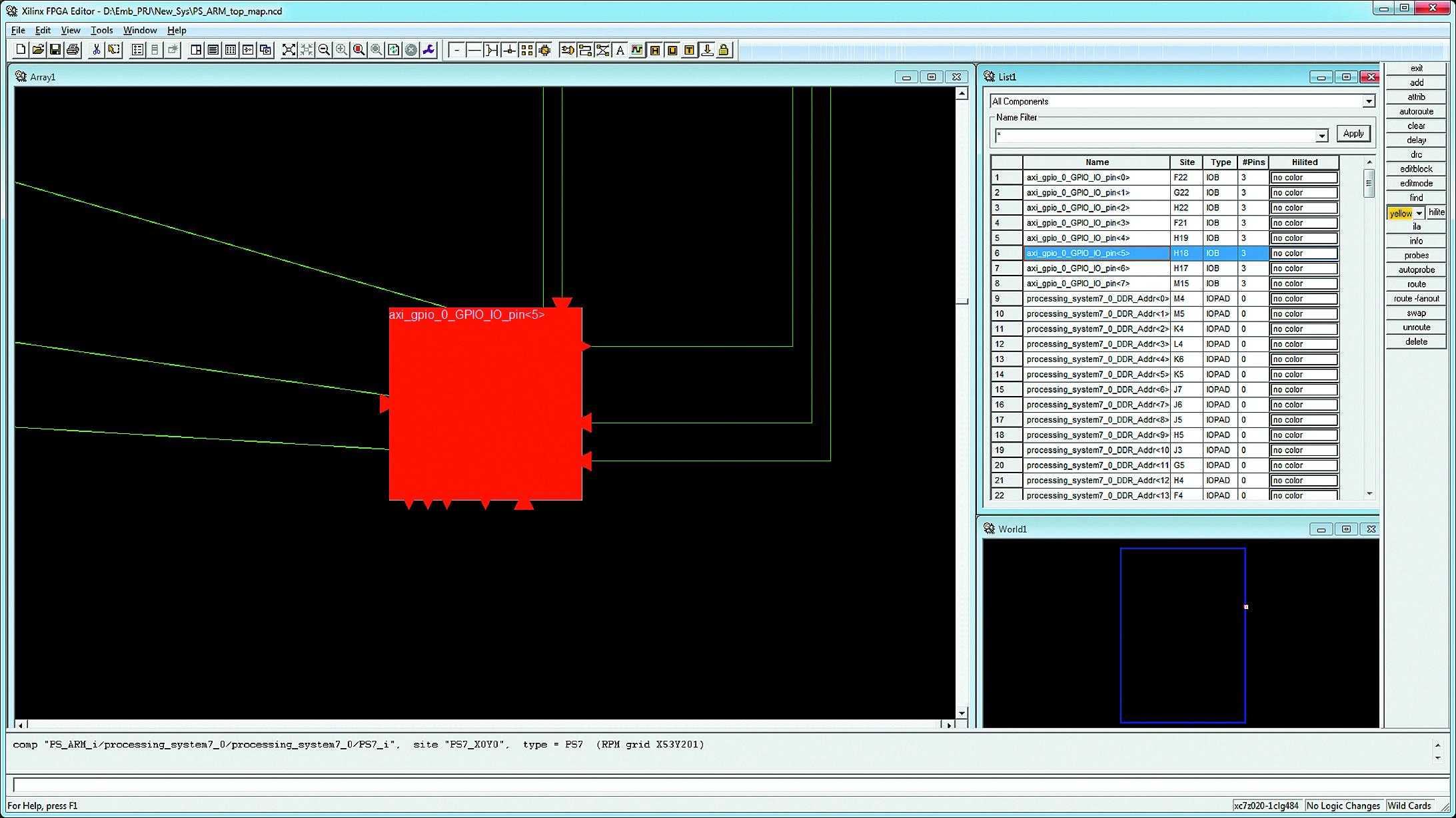 Поиск элементов описания аппаратной части проектируемой системы вне видимой области окна Array