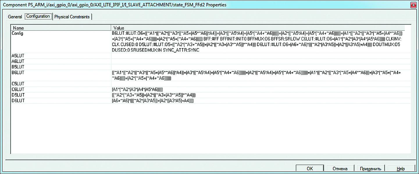 Вид вкладки Configuration диалоговой панели Component Properties