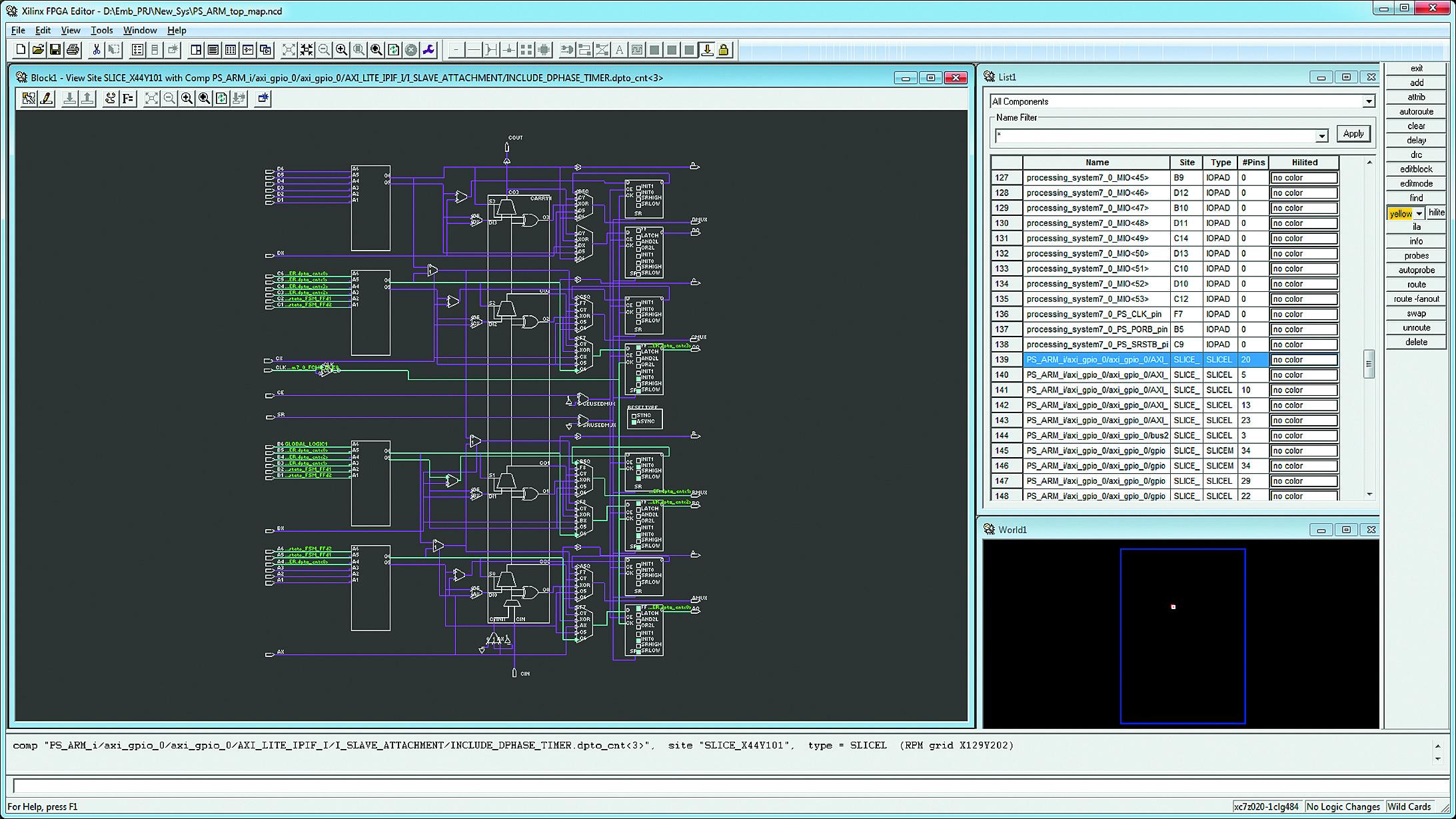 Конфигурирование функций аппаратной части проектируемой системы на базе секции SLICEL