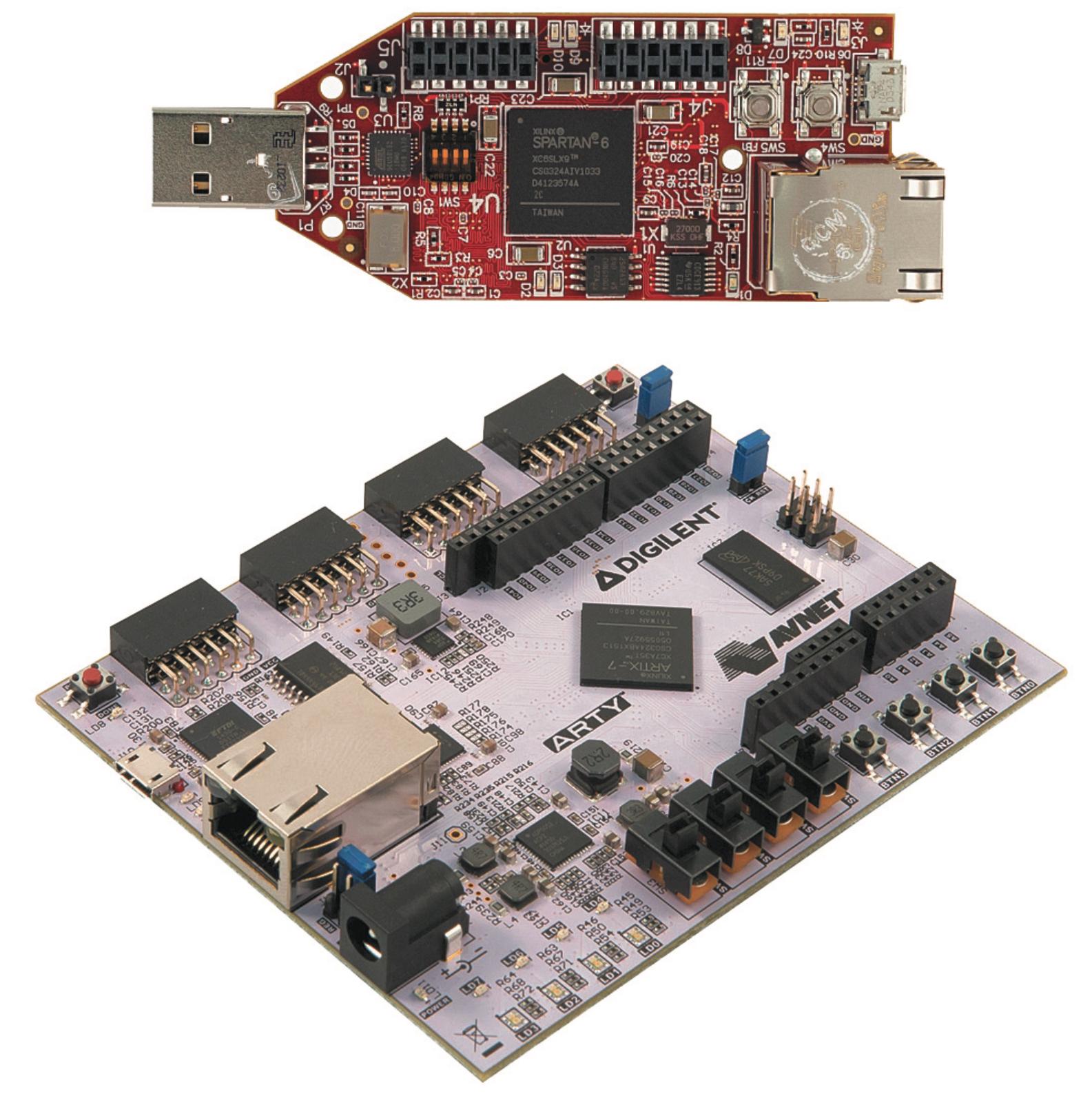 Платы начального уровня Avnet Spartan‐6 Microboard и Digilent Arty на базе Artix‐7