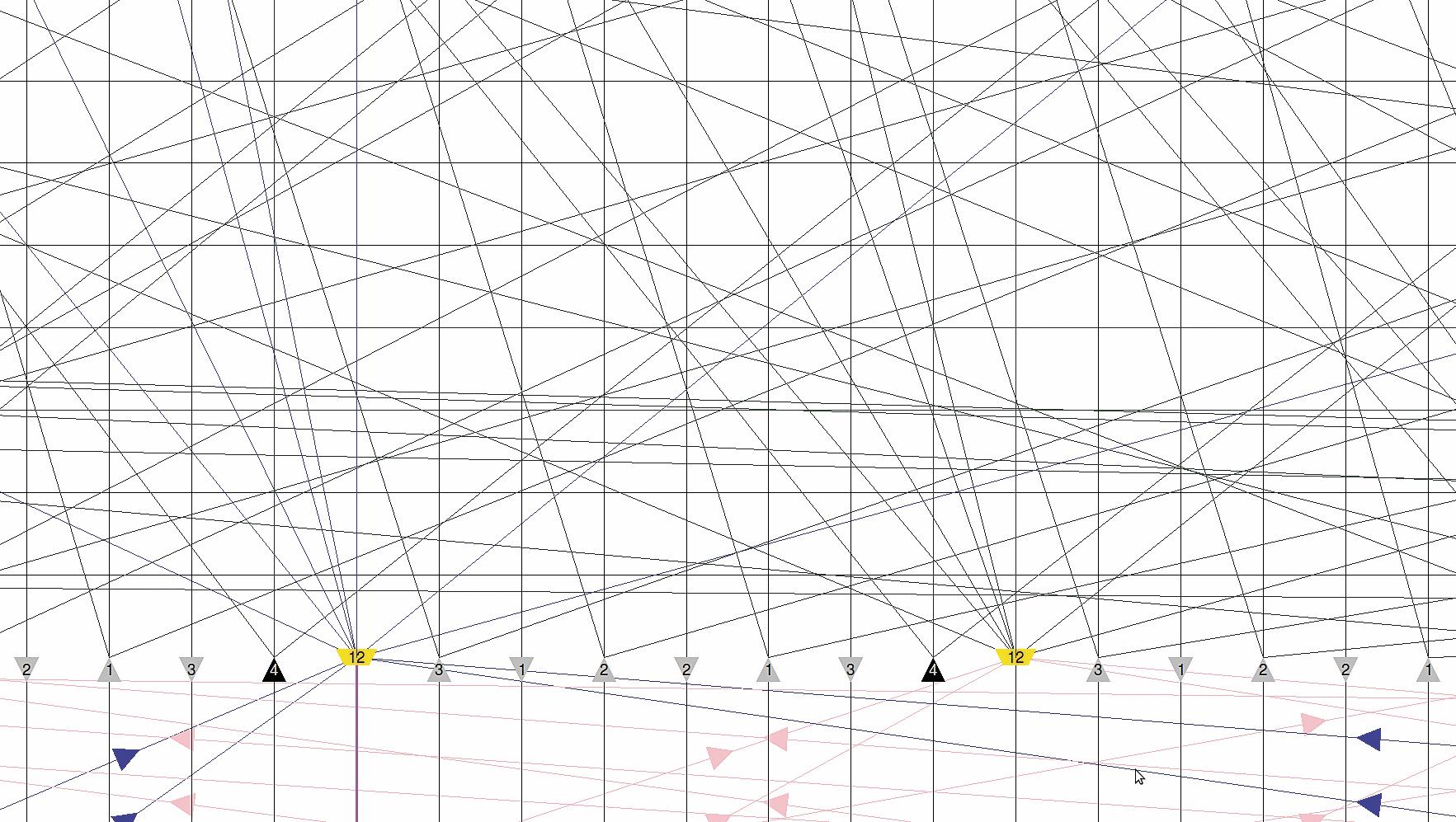 Детальное раскрытие структуры маршрутизатора Wilton в трассировочном канале. Мультиплексоры «12 в 1» отмечены желтым цветом