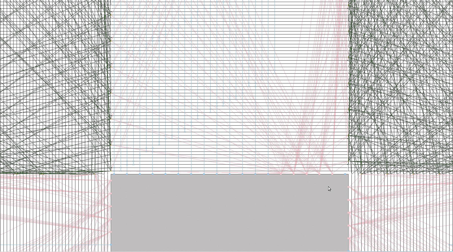 Маршрутизаторы Wilton в трассировочном канале (фрагменты). Синим цветом указаны соединиельные блоки, красным — выходы КЛБ, которые заводятся непосредственно в маршрутизаторы (выделены зеленым цветом)