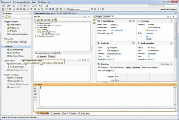 Подготовка к конвертированию файлов временных и топологических ограничений проектов в среде PlanAhead