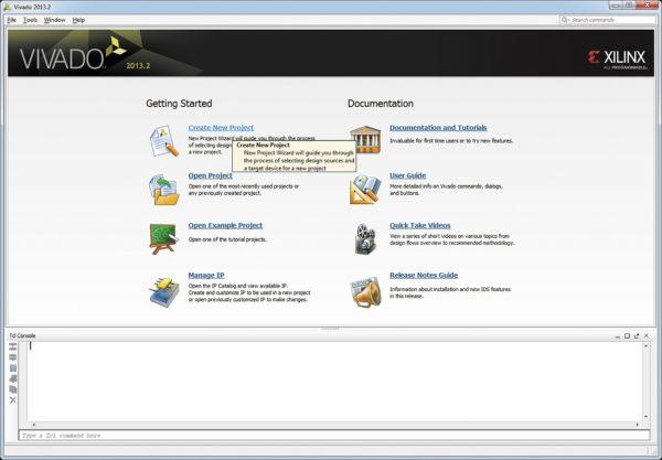 Запуск процедуры создания нового проекта в САПР Vivado Design Suite