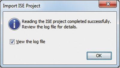 Вид информационной панели Import ISE Project, содержащей краткие сведения о результатах конвертирования проекта