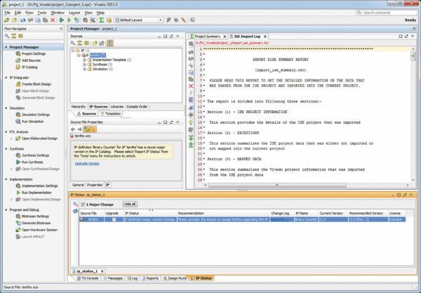 Вид основного окна среды разработки Vivado IDE с открытым проектом, сформированным в результате импортирования проекта ISE Design Suite