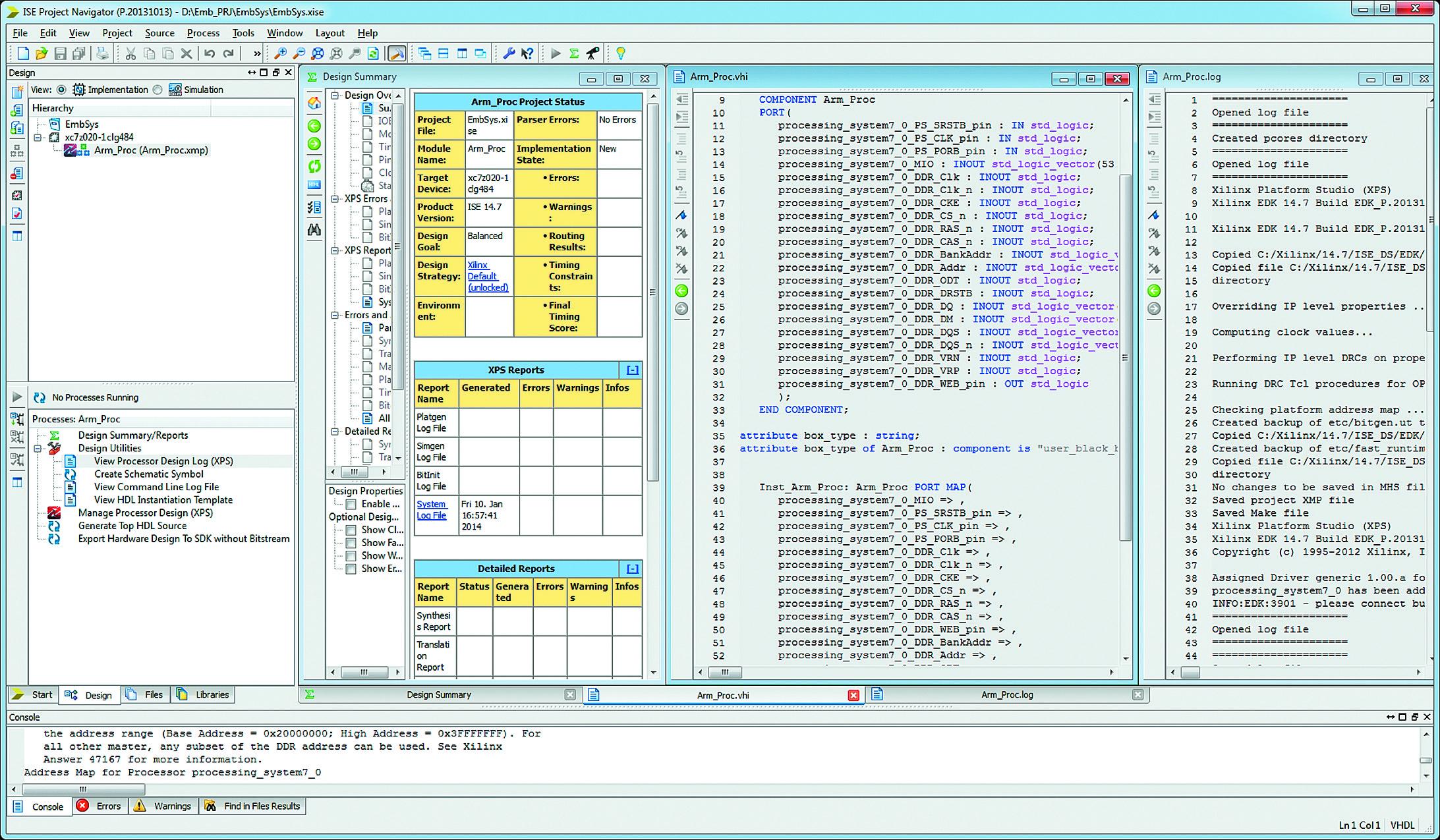 Проектирование встраиваемых микропроцессорных систем в среде Project Navigator