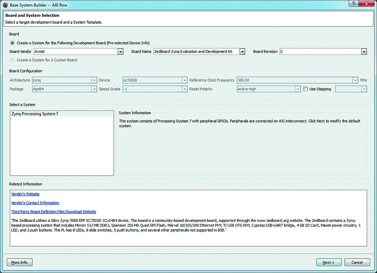 Использование «мастера» Base System Builder Wizard для подготовки спецификаций аппаратной и программной платформ разрабатываемых микропроцессорных систем
