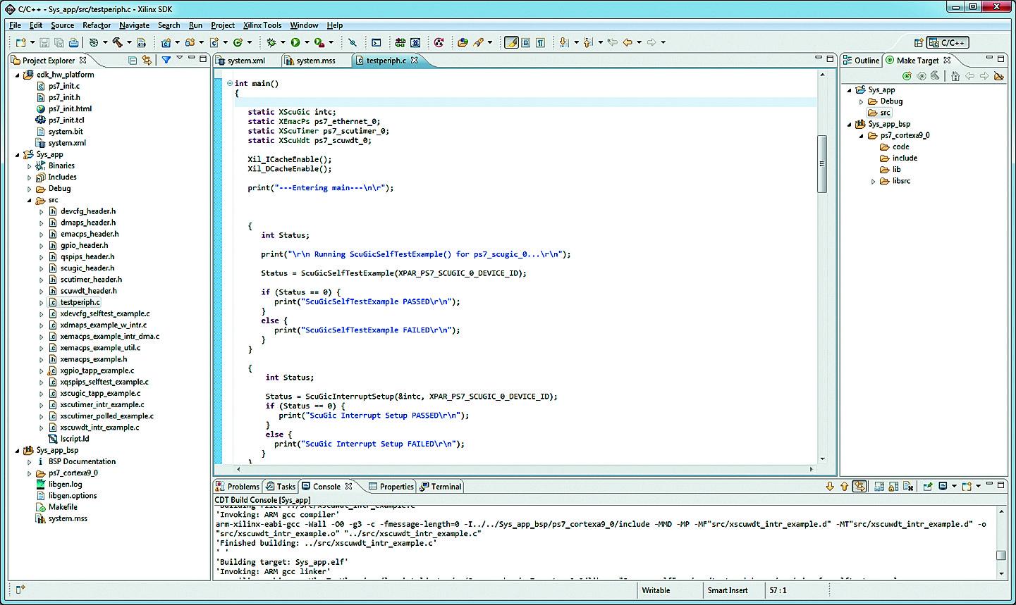 Интегрированная среда разработки программных компонентов встраиваемых микропроцессорных систем Xilinx SDK