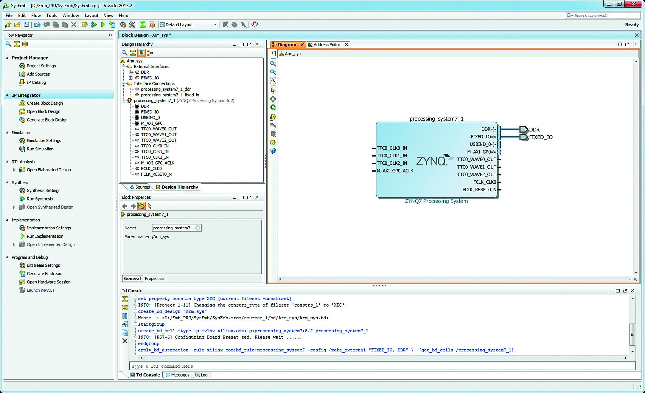 Разработка аппаратной платформы встраиваемых микропроцессорных систем в интегрированной среде Vivado IDE