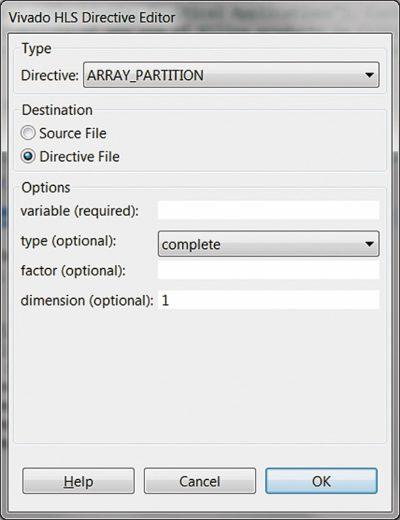Настройка параметров директивы ARRAY_PARTITION