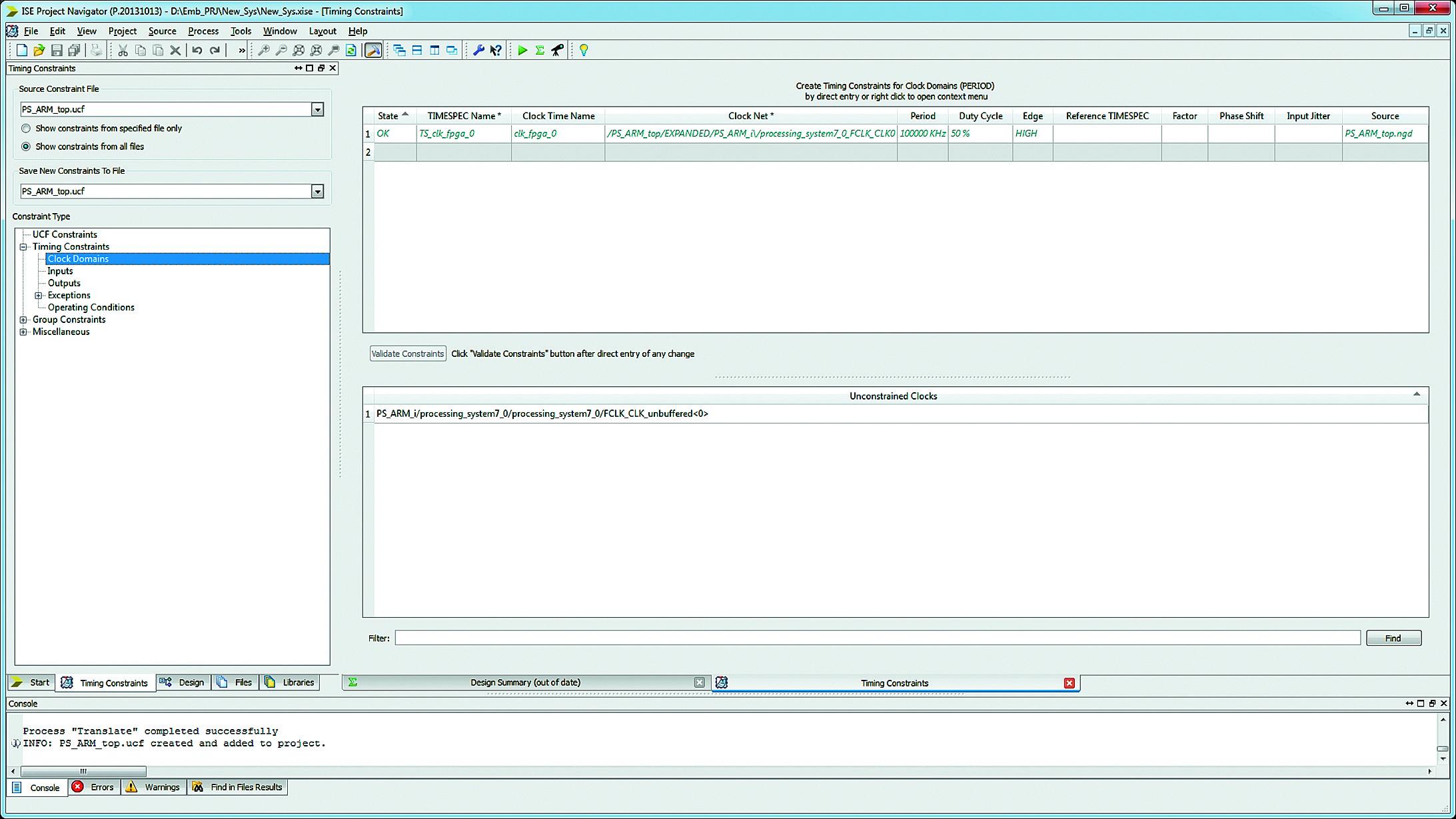 Формирование модуля временных и топологических ограничений с помощью программы Constraints Editor