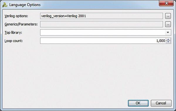 Установка параметров для языка HDL, используемого в конвертированном проекте