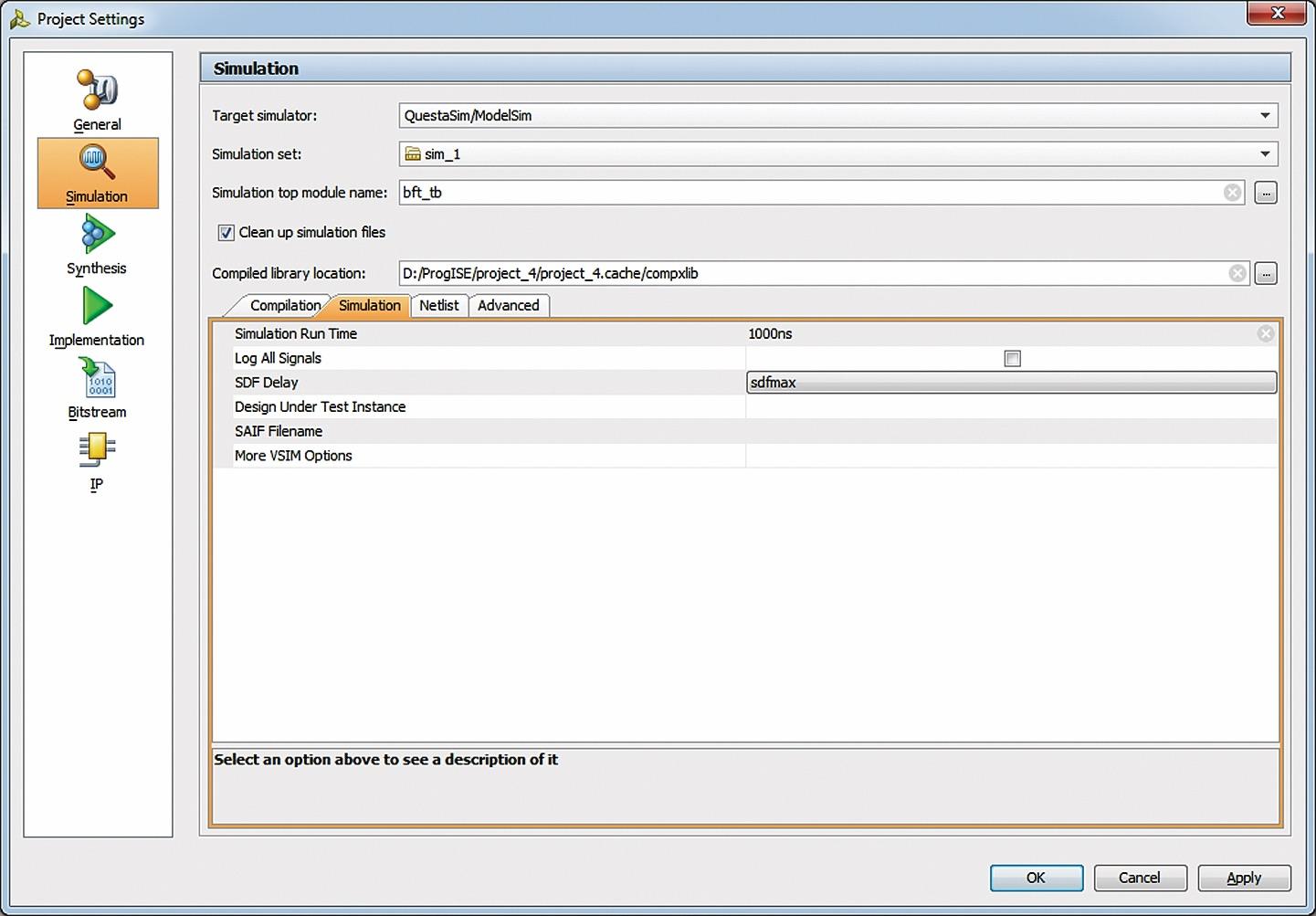 Вкладка Simulation диалоговой панели параметров моделирования при использовании системыModelSim/QuestaSim