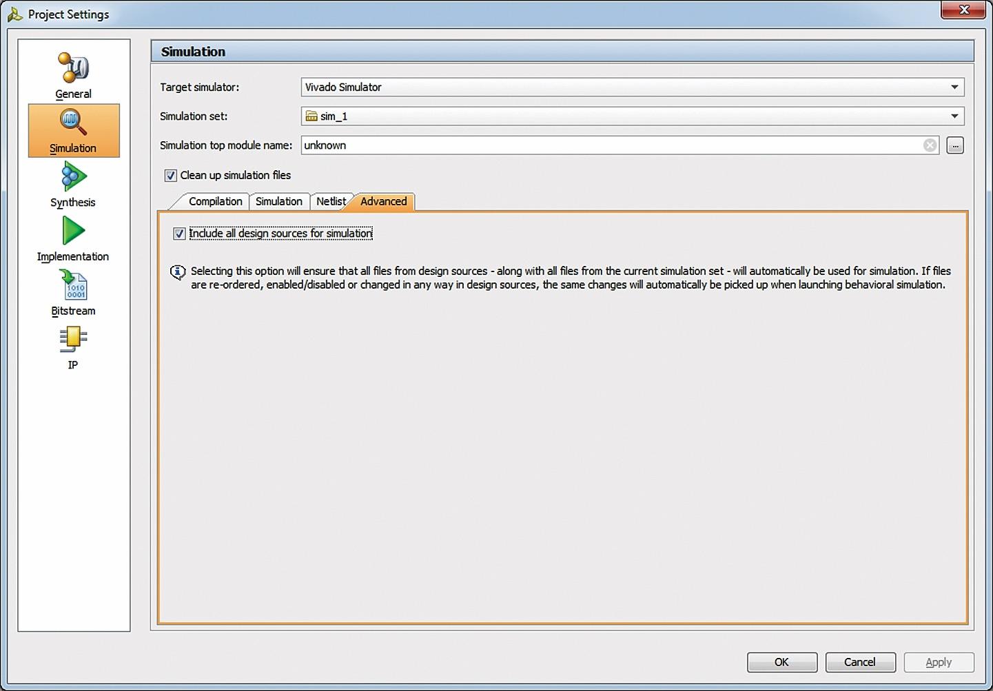 Вкладка Advanced диалоговой панели параметров моделирования импортированного проекта